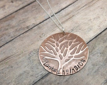 Embossed-handstamped-personalized-necklace-tree of life-copper-sterling silver