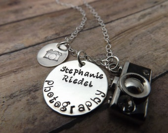 Camera charm handstamped sterling silver discs-photographer necklace-camera