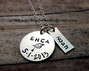 Graduation-personalized necklace-handstamped-graduation cap-highschool-college-elementary-middle school-with name