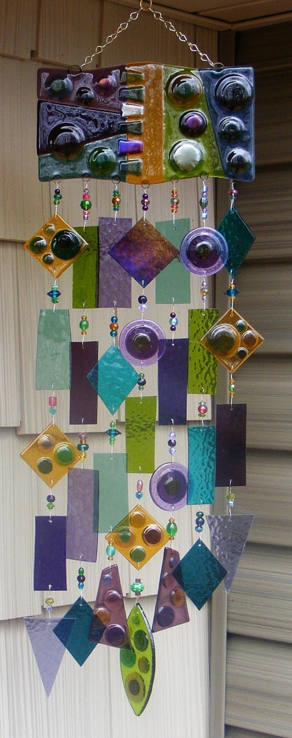 Kirks glass art fused stained glass wind chime windchime for How to make stained glass in driftwood