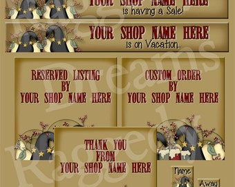 Etsy Banner Set - Premade Etsy Banner - Etsy Shop Banner - SHOP ICON  Shop Profile Photo - Primitive Crows - Raggedy Dreams Etsy Shop Design