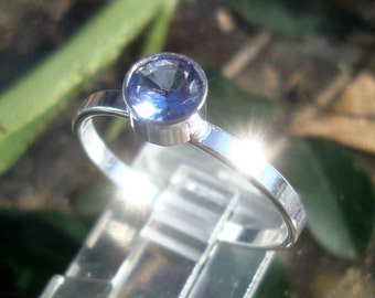 Ring Tanzanite eco-friendly sterling silver with 1ct VVS 6mm conflict free man made blue purple tanzanite - Custom Made in your Size