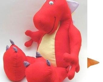 Dinosaur Pattern - Plush Dinosaur Pattern - Stuffed Animal Sewing - make a dinosaur - PDF
