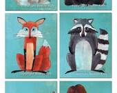 Set of 6 Woodland Animals Art Prints, 8x10