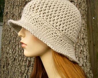 Crochet Hat Womens Hat - Crocheted Sun Hat in Cream Linen - Cream Hat Linen Hat Womens Summer Hat Beach Hat Crochet Hat