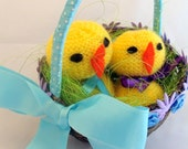Easter Chicks, Easter Chicks in Basket, Knitted Chicks, Easter Basket, Easter Decoration, Table Decoration