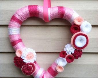 Valentine's Day Heart Wreath - Pink & White Yarn decorated w/ felt flowers.  Valentine's Day Wreath - Valentine's Day Decoration