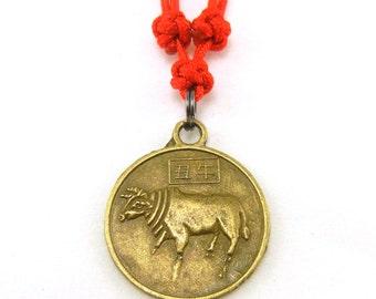 Chinese zodiac cow ox buffalo necklace