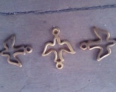Brass Dove Link or Charm. Vintage. New Old Stock. Two.