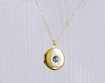 Round locket necklace - blue crystal necklace - starburst necklace - vintage locket - round charm necklace - open locket pendant -North Star