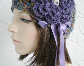 hand crochet cloche hat ~ scallop hat ~ hippie mix
