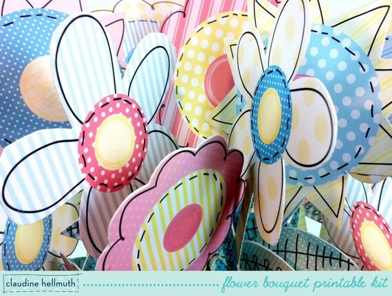 folk art flower bouquet -  party centerpiece decoration for spring, Mother's Day, birthday - printable PDF - INSTANT download