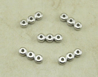 5 TierraCast Plain 3 Hole Bead Bar - Rhodium Plated LEAD FREE Pewter - I ship Internationally 3146