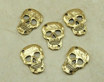 5 Skull Link Charms Day of the Dead Links - Gold Tone Plated Lead Free Pewter - I ship Internationally