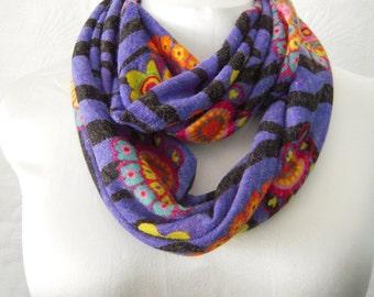 SALE - Retro Floral Zebra Print Sweater Knit Infinity Scarf - Circle Scarf