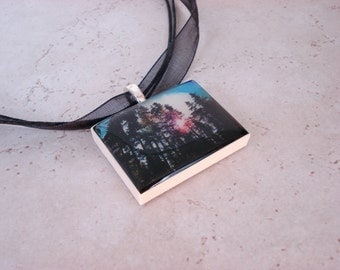 Great Outdoors Pacific Northwest polymer clay photo picture pendant on organza ribbon necklace
