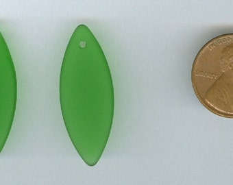 Set 2 Green Small Spindle 32x12mm Sea Glass Pendant Beads