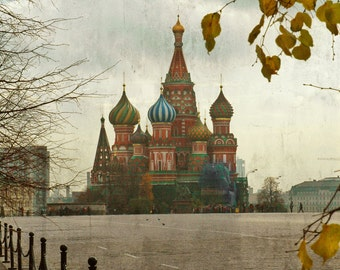 Russian Architecture photography. Saint Basil's Cathedral. Rustic. Green and red onion domes. Yellow leaves. Moscow, Russia.