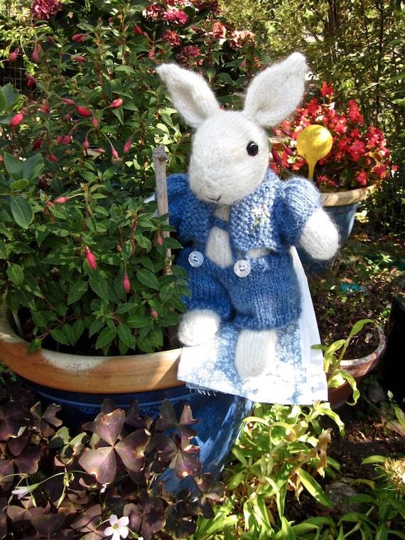 Hand Knit Mohair Bunny Doll/ Daisy, a Flower Bunny