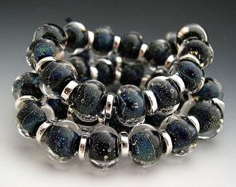 Naos Glass Sky Diamonds Mega Set 40 beads Made To Order Handmade Lampwork Beads SRA Black Clear Silver Blue