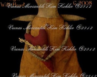Instant Download Angel Doll Pattern Primitive Digital Heart Valentine E Patterns PDF Fabric Cloth Sewing Kim Kohler Veenas Mercantile