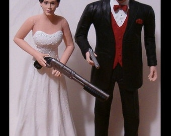 Custom Zombie Hunters Wedding Cake Toppers Figure set - Personalized to Look Like Bride Groom from your Photos