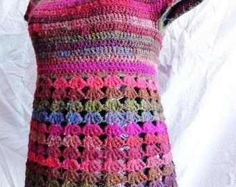Instant download PDF crochet pattern - Violaine top - ladies vest  sizes XS to XL - Easy crochet