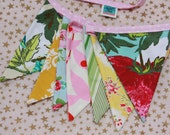 """The """"Ida"""" Bunting.  As Shown, Carnival Banner, Fabric Pennant Flags, Med. Flags in Pink, Yellow, & Aqua. Party Decor, Prop."""