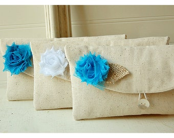 Set of 3 Bridesmaid Clutches, Rustic burlap Wedding Clutch Purses, Bridesmaid Gift, Fall Wedding - 3 Clutches clutch Personalize gift MakeUp