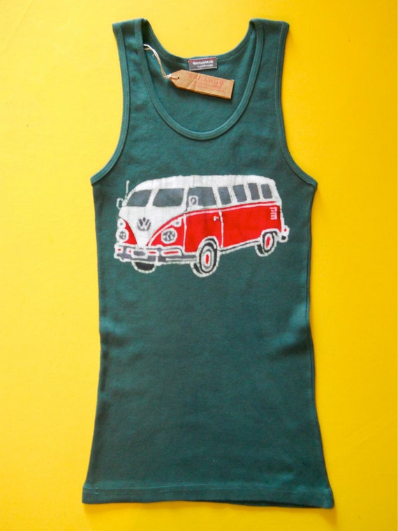 VW batik tank top hippie volkswagon camper women hand painted & hand dyed green size S, M ,L ,XL, XXL