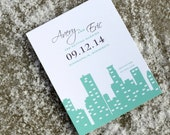 Skyline Save the Date Card  - Minneapolis, New York City, Seattle, Chicago, Calgary, Boston