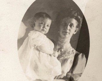 vintage photo Little baby with his Motherrppc