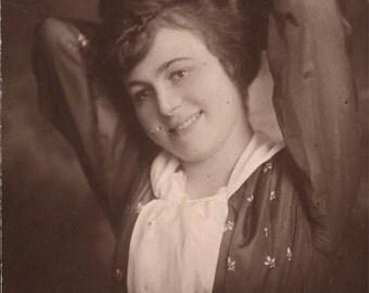 vintage photo 1913 Older Teen Girl Arms up in Portrait