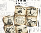 Witch Wine Labels II 4x5 digital collage sheet set for potions Halloween party or spooky goth dinner parties tequila punch wine love potion