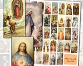 Antique Catholic Holy Cards I  Digital Collage sheet 1x2 domino size instant download printable