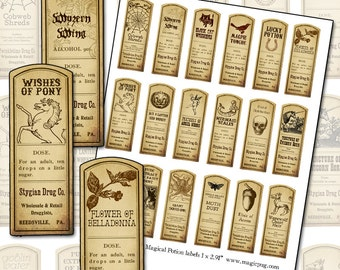 Fantasy Magic Potion Labels digital collage sheet 18 labels for decoupage witches brew supplies and more