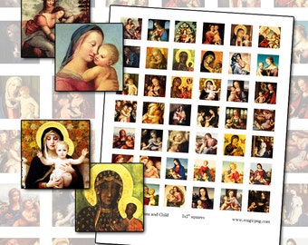 "Madonna and Child 1x1 inch square digital collage sheet of inchies 25mm 25.4 mm 1"" altered art"