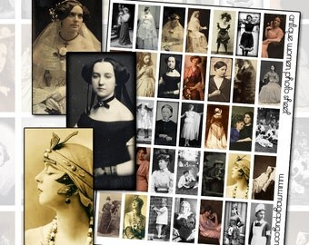 """Antique Black and White Photography Brides and Bathing Beauties 1x2"""" 25mm x 50mm digital collage sheet"""