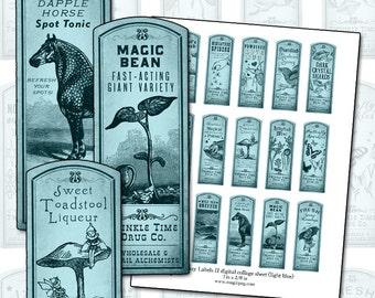 Fantasy Magic Potion Labels II BLUE digital collage sheet 1x3 dapple horse bird song