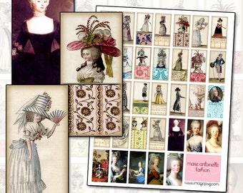 18th Century French Marie Antoinette era Fashion & Costume Digital Collage Sheet damask pink pastels portrait blue stripes powdered wig