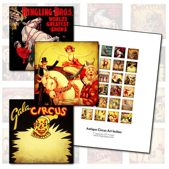 Antique Circus Posters inchies digital collage sheet 1x1 25mm 25.4mm  square acrobat lion donkey clowns tigers show