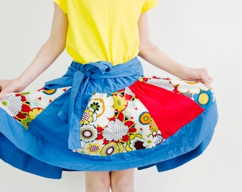 SALE Patchwork Circle Skirt PDF Sewing Pattern.  Size 6 months-8 years