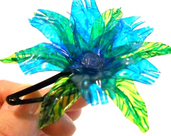 HAIR CLIP Blue Fantasy Flower Upcycled, Eco Friendly, Ethically Made, Environmentally Conscious, OOAK from Water Bottles