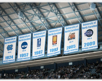 UNC Chapel Hill Tar Heels Basketball National Championship Banners - North Carolina Photography, Sports Fine Art Print or Note Cards
