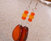 Bright Orange and Yellow Teardrop Earrings - mompotter