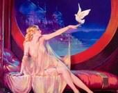 Sultana HAREM BELLY DANCER 12x18 Henry Clive Fantasy Lingerie Nude Dove Deco Art Nouveau Glamour Pin-Up - Revivalist Illustrator Pinup