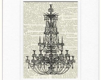 chandelier II in black print