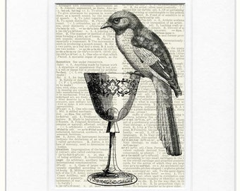 bird with goblet dictionary page print