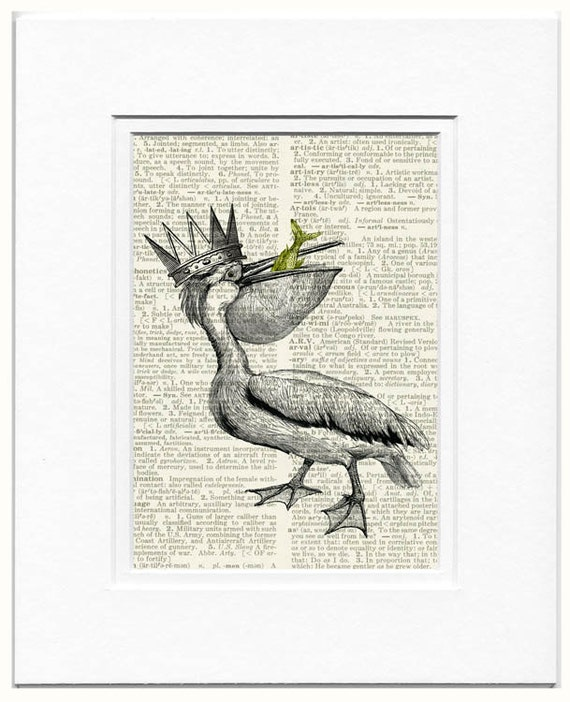 Pelican King dictionary page print