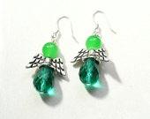 Angel Earrings ~ Green Earrings ~ Emerald Green Earrings ~  St Patricks Day E2013-02